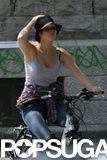Jennifer Lawrence biked in Montreal.