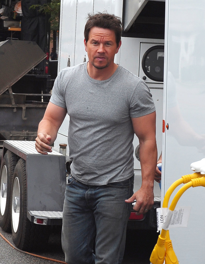 Mark Wahlberg took a break on the Transformers 4 set in Chicago on Wednesday.