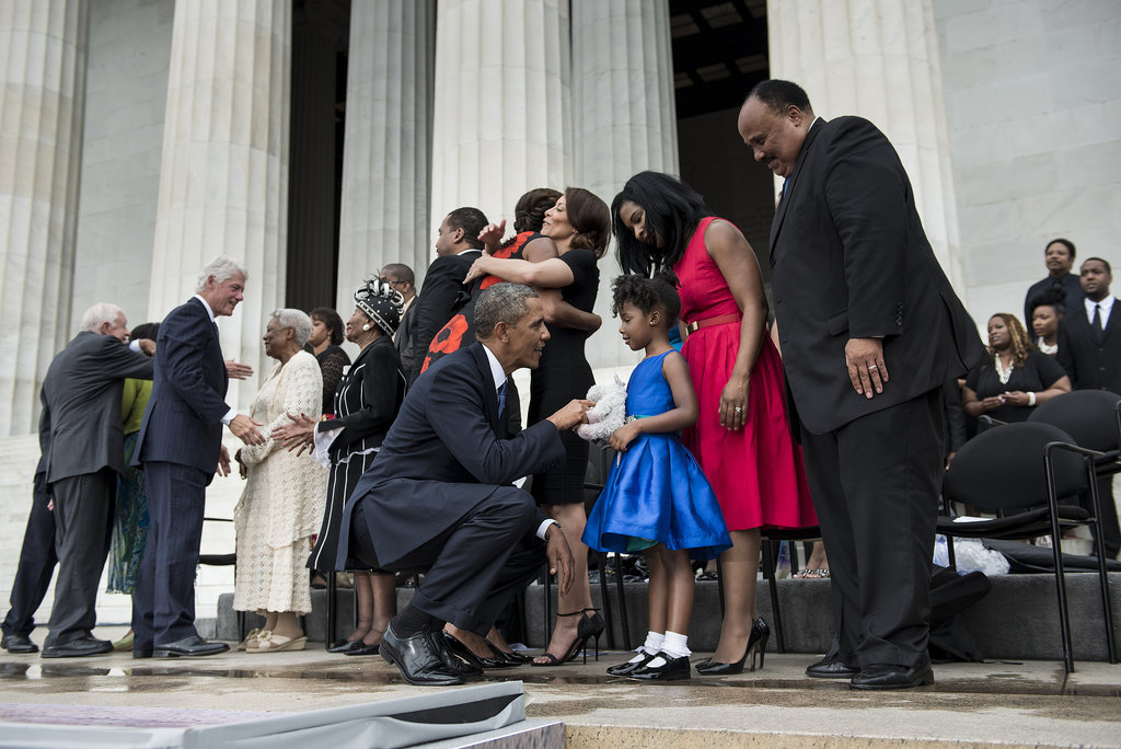 President Obama spoke with MLK's adorable 5-year-old granddaughter, Yolanda.