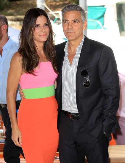 George Clooney and Sandra Bullock posed for pictures together in Venice.