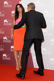 George Clooney and Sandra Bullock joked around at their photocall in Venice.