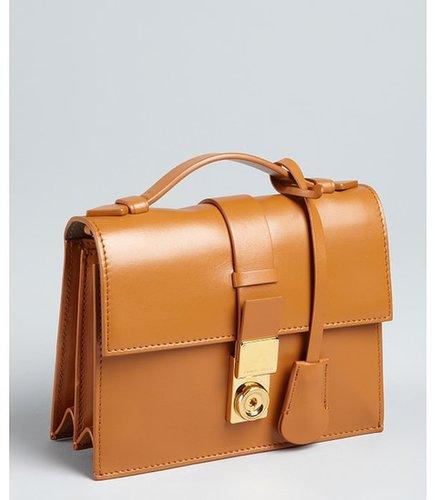 Giorgio Armani camel leather top handle convertible shoulder bag