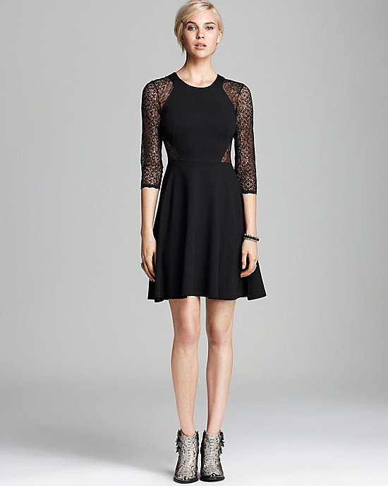 Super flattering, all-occasion appropriate, there's nothing we don't love about this one part sweet, one part sexy French Connection Vienna lace jersey dress ($168).