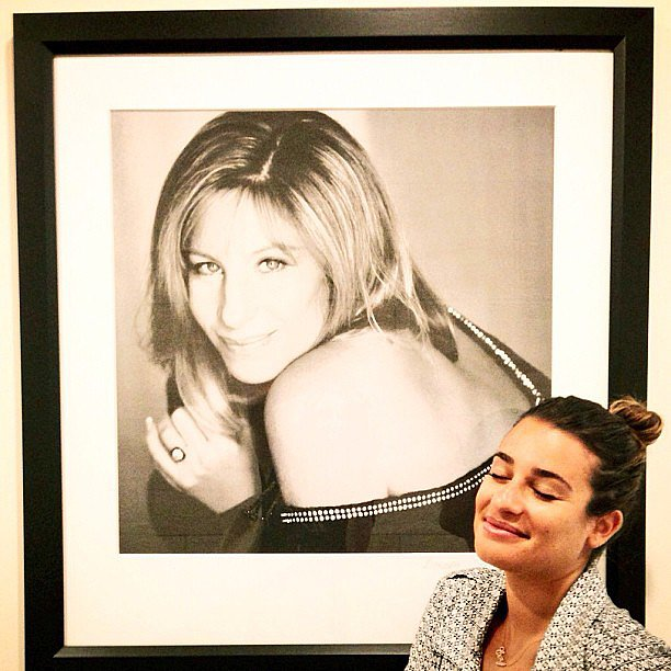 Lea Michele posed near a framed photo of her idol, Barbra Streisand. Source: Instagram user msleamichele