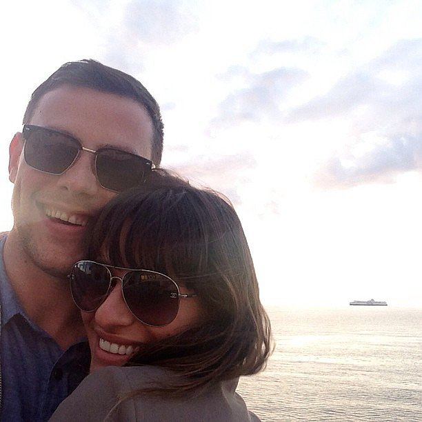 "Lea Michele shared this touching snap of her and Cory Monteith after his death, thanking her fans for their ""enormous love and support,"" adding, ""Cory will forever be in my heart."" Source: Instagram user msleamichele"