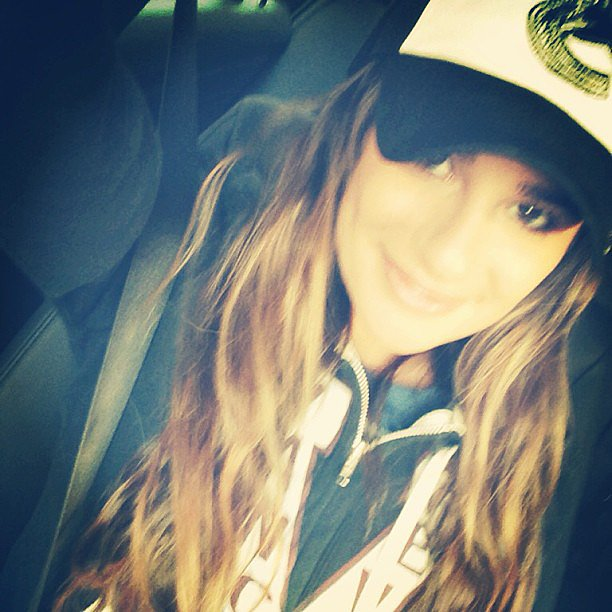 Lea Michele showed off her Canadian pride while en route to a Vancouver Canucks game with boyfriend Cory Monteith. Source: Instagram user msleamichele
