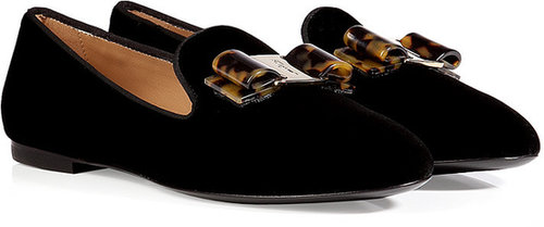Salvatore Ferragamo Velvet Scotty Slipper-Style Loafers