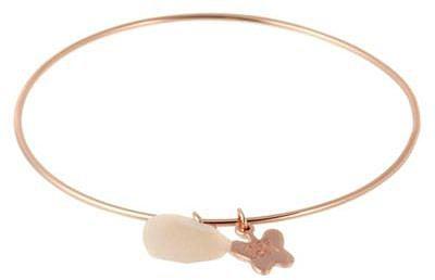 Rose heart charm bangle bracelet