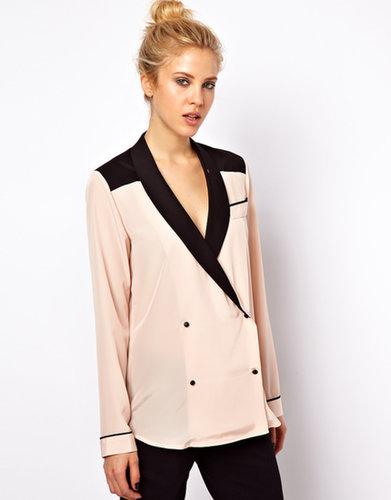 ASOS Blouse With Tuxedo Collar in Color Block