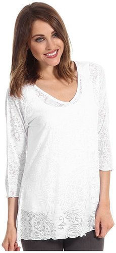 Miraclebody Jeans - Veronica V-Neck Burnout Top w/ Body-Shaping Inner Shell (White) - Apparel