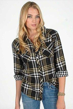 Rails Kendra Gauze Plaid Shirt in Black/Yellow