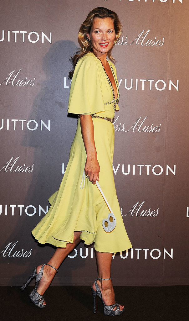 Kate Moss made an entrance in Louis Vuitton for the Timeless Muses exhibition at the Tokyo Station Hotel.
