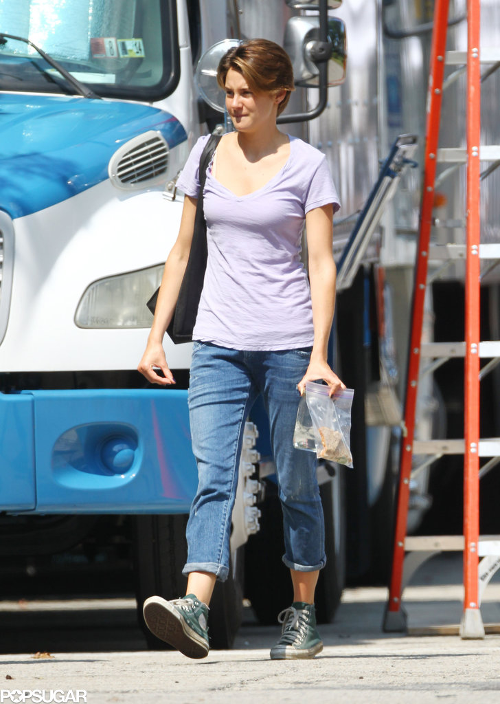 Shailene Woodley showed off her new haircut on set.