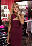 Lindsay Ellingson helped open Victoria's Secret's Vancouver boutique in an aubergine gown.