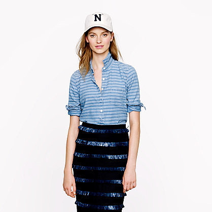 Stripe chambray popover