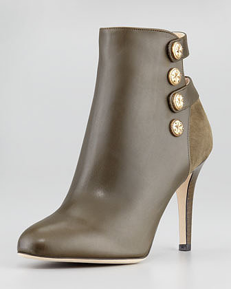 Jimmy Choo Troop Button-Strap Ankle Bootie, Olive