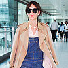 Alexa Chung Wearing Overalls at Airport