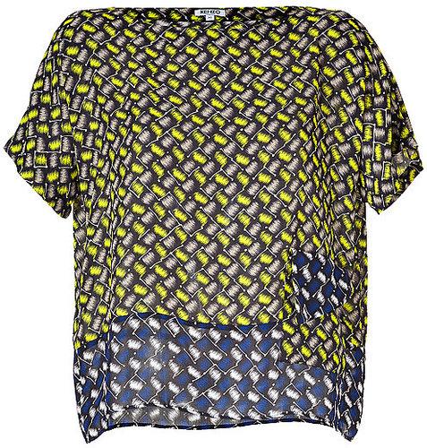 KENZO Yellow/Blue Graphic Print Short Sleeve Top