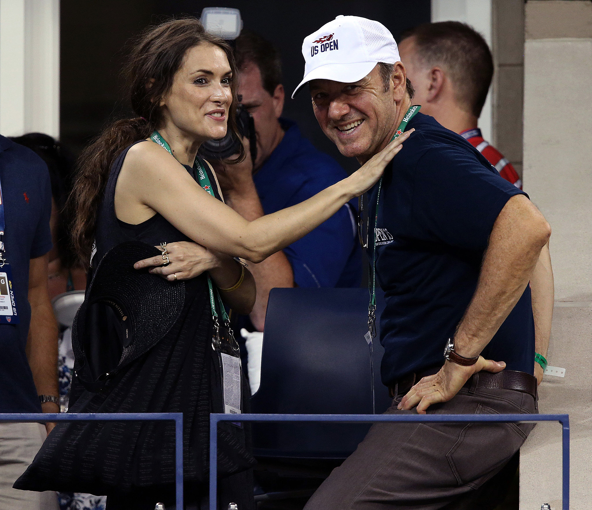 Winona Ryder and Kevin Spacey hung out together in the stands.