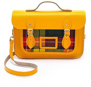 "Cambridge satchel 13"" Satchel with Tartan Pocket"