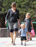 Violet walked with Jennifer Garner and Samuel.