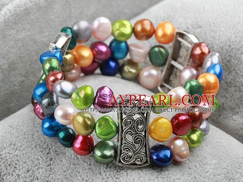 Classic Desgin Three Strands Multi Color Freshwater Pearl Elastic Bangle Bracelet