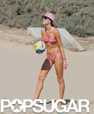 Alessandra Ambrosio played beach volleyball in a bikini in Malibu.
