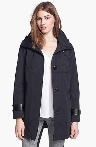 Ellen Tracy Faux Leather Trim Raincoat