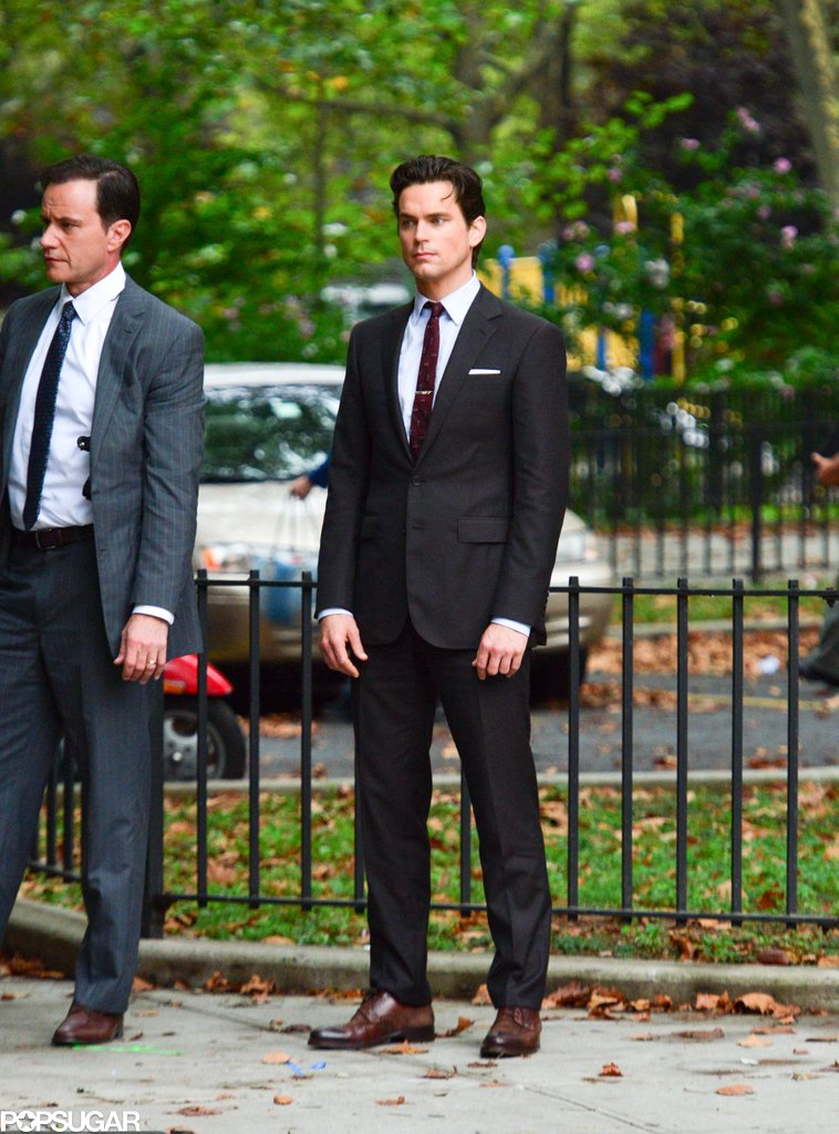 Matthew Bomer donned a suit in NYC for White Collar on Tuesday.
