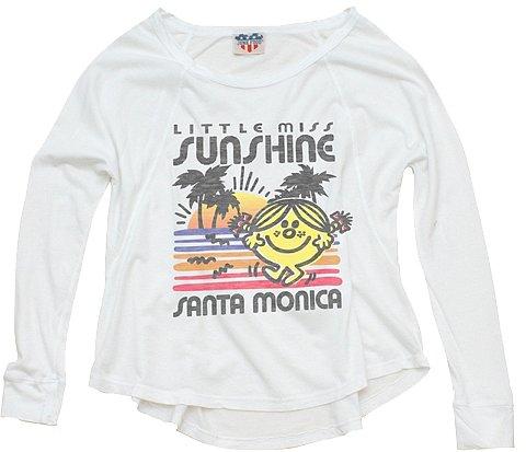 Mr. Men Little Miss by Junk Food - Girl's Little Miss Sunshine Santa Monica Long Sleeve Top - Electric White