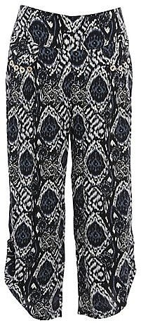 Mandi Grey Snake Print Cropped Trousers
