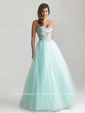 A-line Strapless Full Length Dresses Ball Gown Allure Water for Homecoming 2013