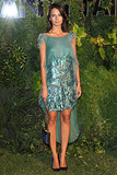 Anna Safroncik helped Vanity Fair fete the Venice International Film Festival in an asymmetric green cocktail dress.