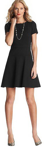 Puff Sleeve Flare Skirt Dress in Ponte Knit