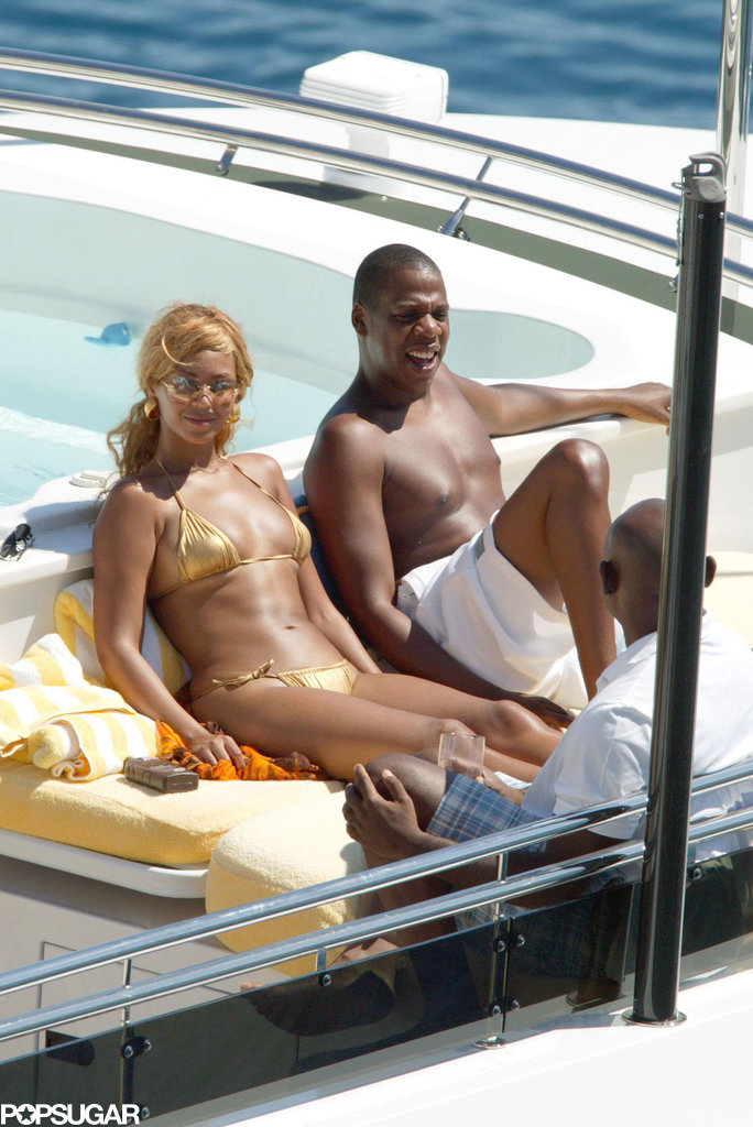 Beyoncé Knowles and Jay Z hung out on a boat in Monaco during August 2004.