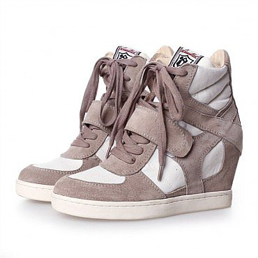 ASH BEIGE COOL WEDGE HI TOP TRAINER SHOES