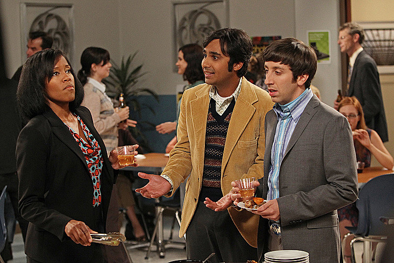 The Big Bang Theory Regina King, Kunal Nayyar, and Simon Helberg on The Big Bang Theory.