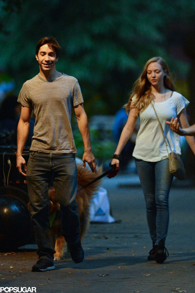 Justin Long Plants a Kiss on Amanda Seyfried — and Her Dog Finn!