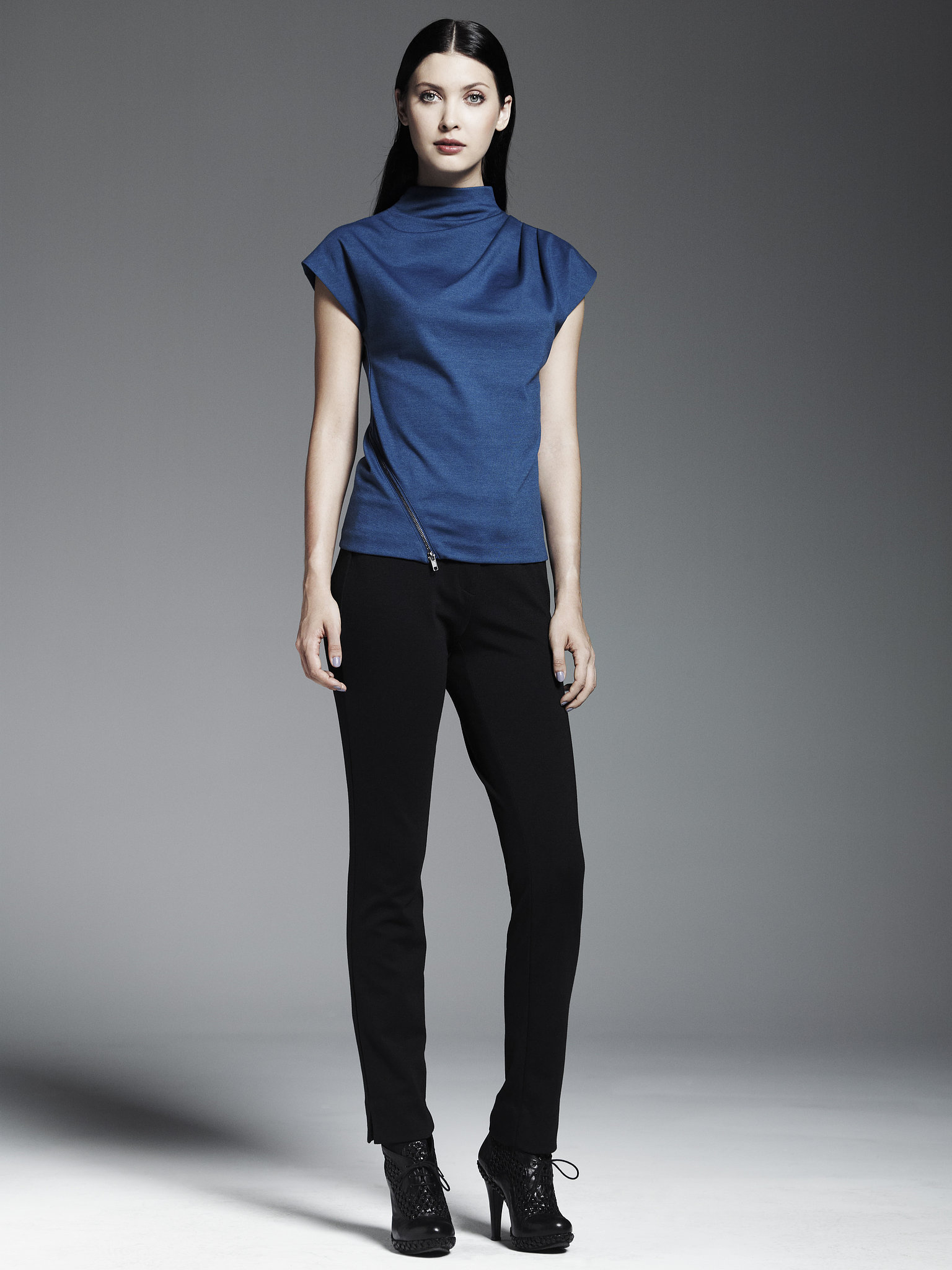 Ponte Side-Zip Top ($48), Ponte Pants ($54) Photo courtes