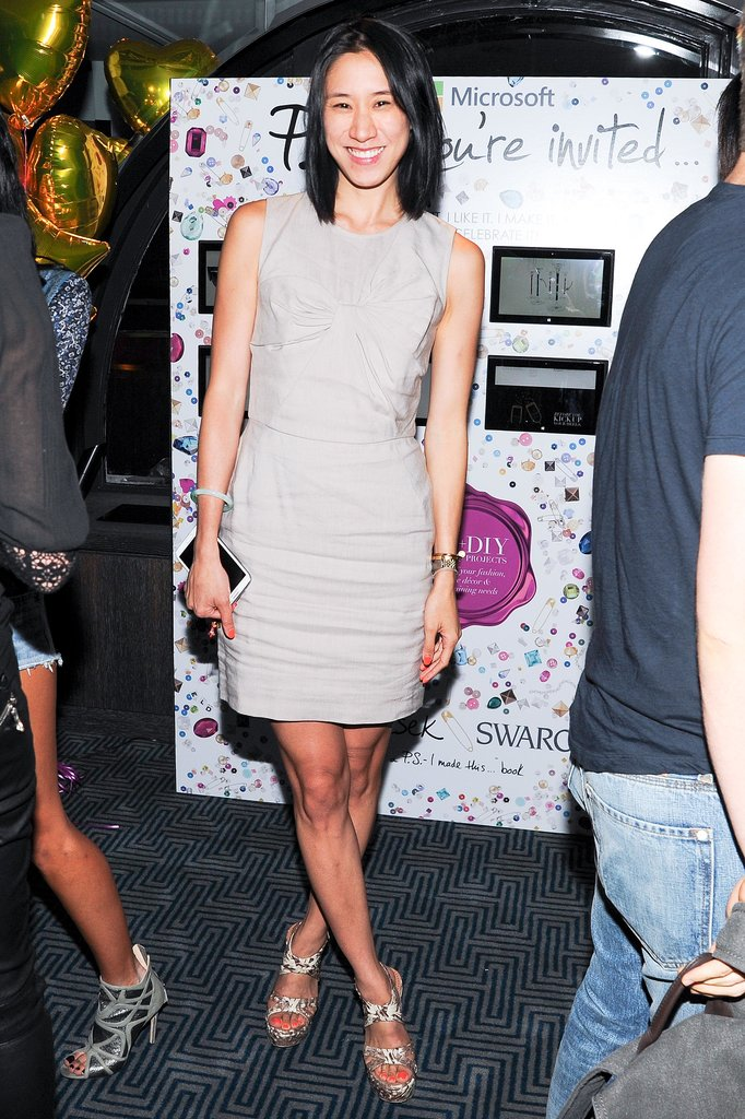 At the P.S. You're Invited event, Eva Chen stepped out in a neutral ensemble that she set off with silver sandals.