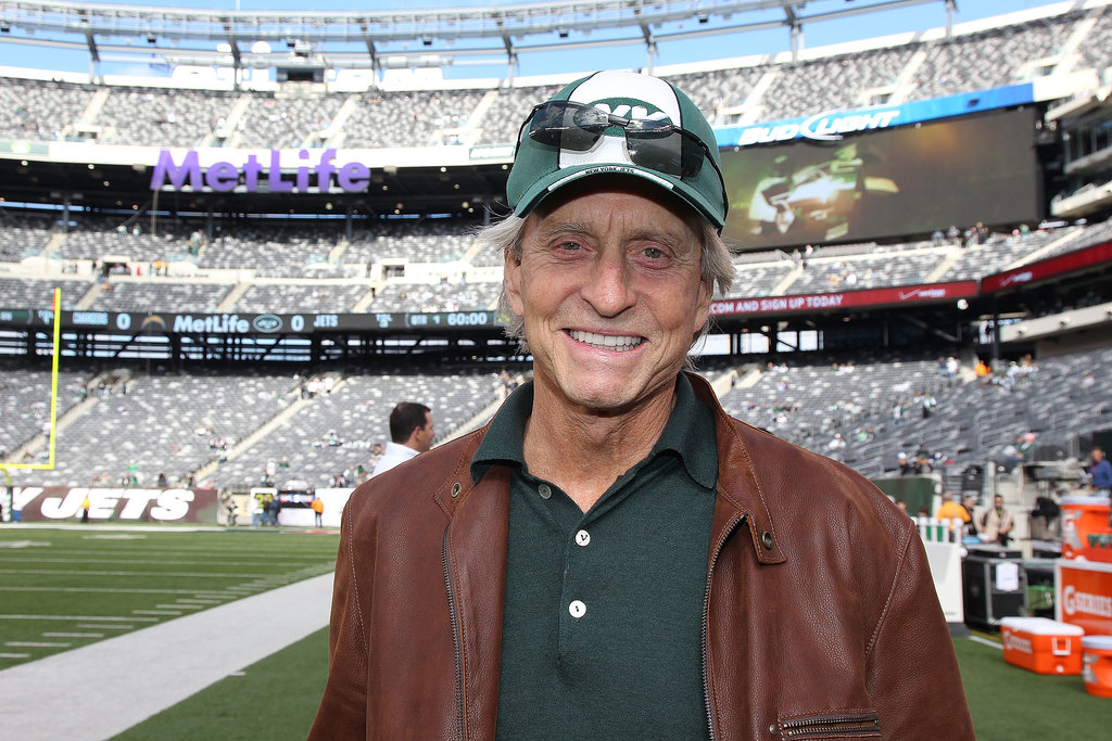 Michael Douglas hit the sidelines in his Jets gear before a game vs. the San Diego Chargers in October 2011.