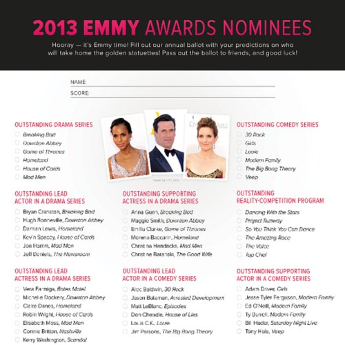 Printable Emmy Ballot 2013