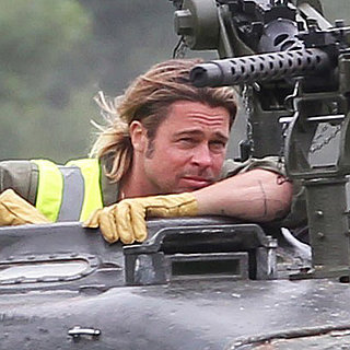 Brad Pitt Driving a Tank on the Set of Fury