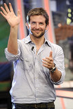 Bradley Cooper waved while on set.