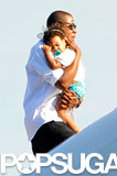Jay Z held on to Blue Ivy Carter in Italy.