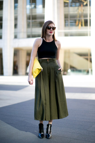 A lesson in pulling off a crop top — without showing too much skin.