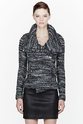 IRO Black mottled knit Chanice blazer