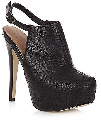 Black High Vamp Croc Print Sling Back Heels