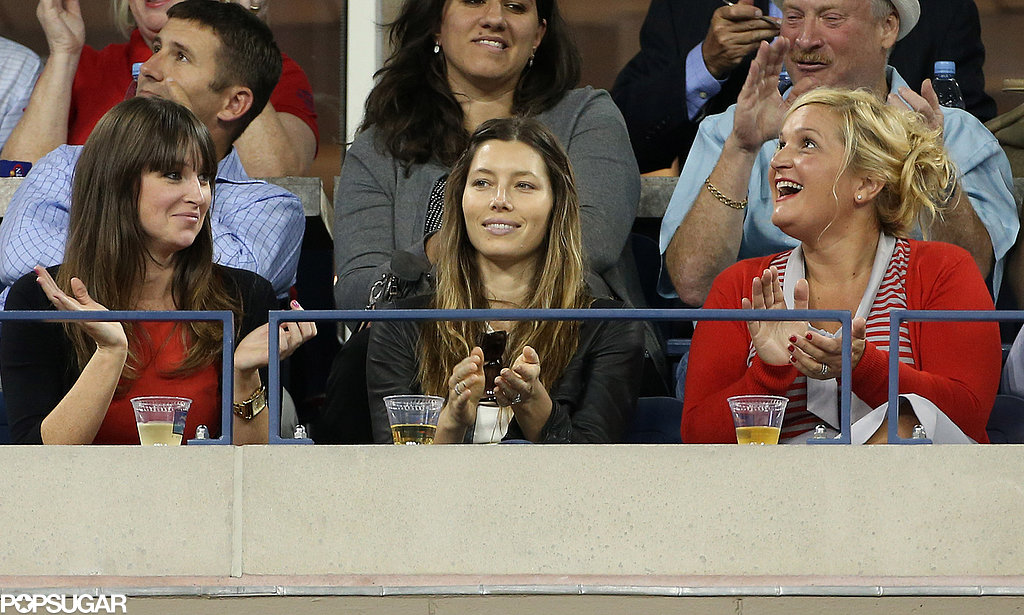 Jessica Biel took a box seat for the action at the US Open.