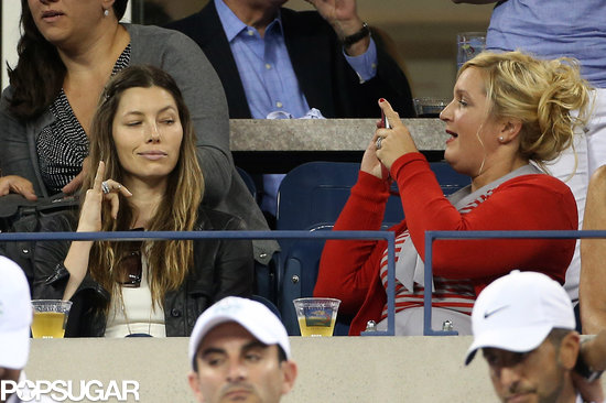 Jessica Biel posed for a funny picture in the stands of the US Open. She was just one of the many celebrities to get in on the tennis action — see all the stars at the US Open.